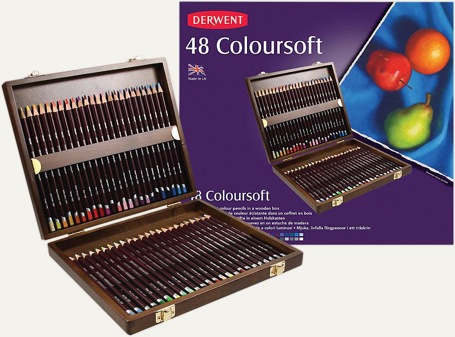 Derwent Coloursoft 48 Colour Pencils Wooden Box Set