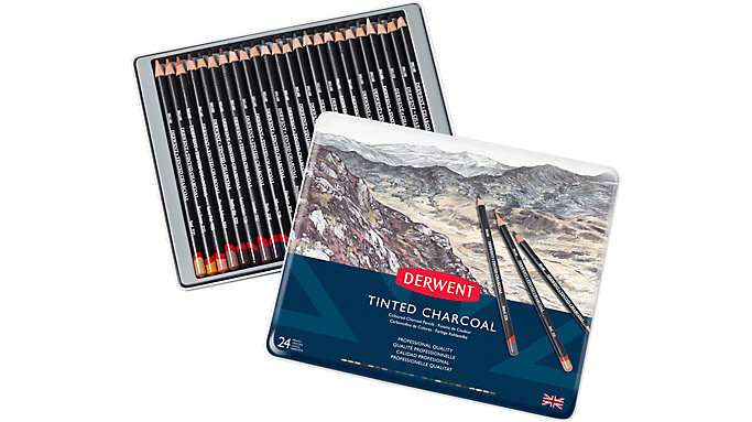 Derwent Charcoal 24 Tinted Pencils Tin  (2301691)