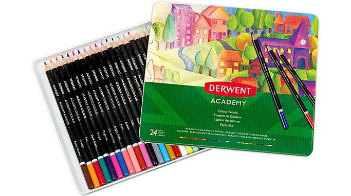 Derwent Academy Deluxe 24 Colour Pencils Tin  (2301938)
