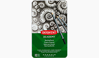 Derwent Academy Wallet of 12 Assorted Graded Sketching Drawing Pencils 6B-5H
