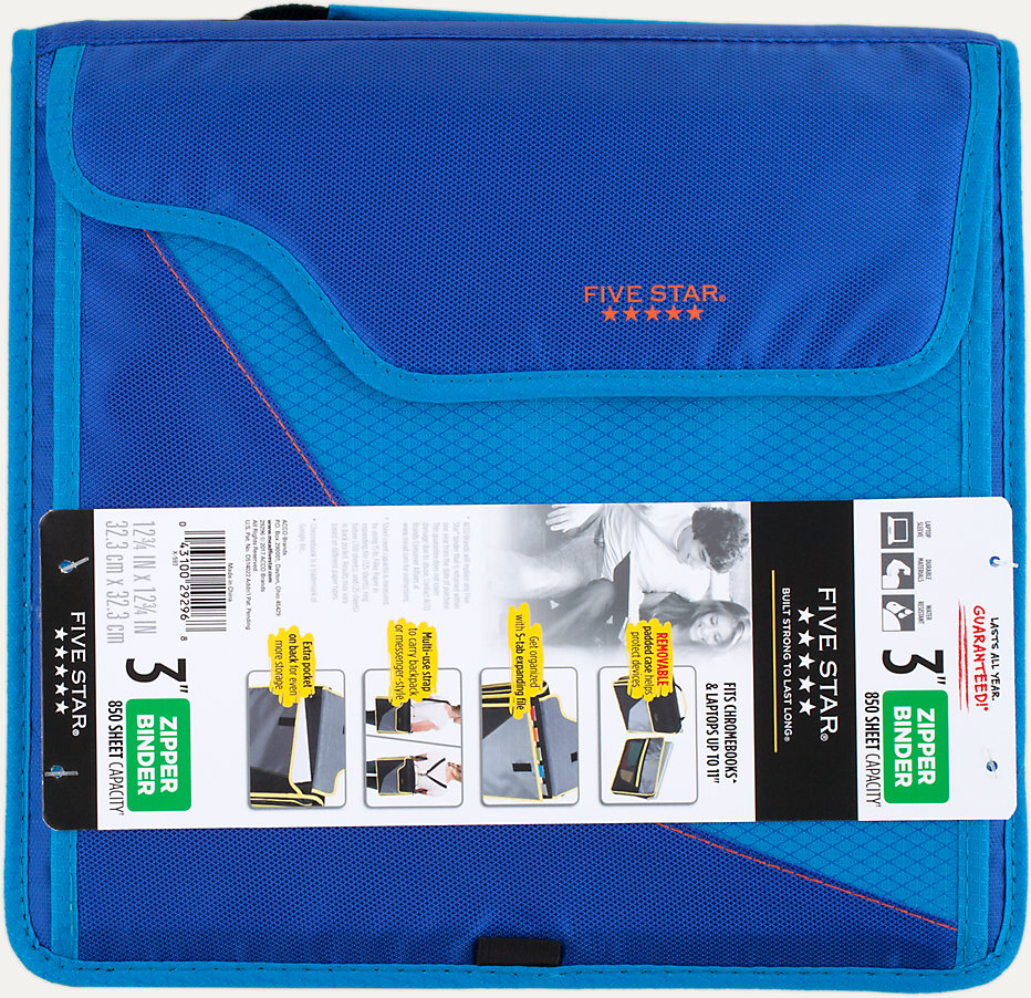 3 sewn zipper binder removable padded case 29296 five star