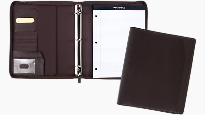 1 inch zipper binder with notepad 29450 cambridge