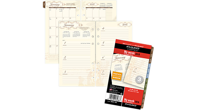 AT-A-GLANCE Day Runner Poetica Weekly-Monthly Planner Refill Size 3  (3042-100)