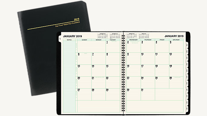 monthly tabbed planner notebook size 31320 day timer