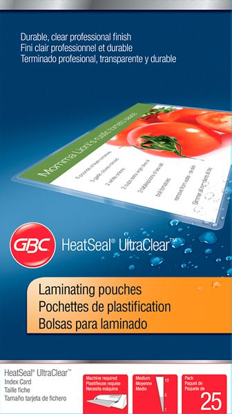 HeatSeal Pouches Index Card Size 5 Mil 25 pieces, 3202002 By GBC