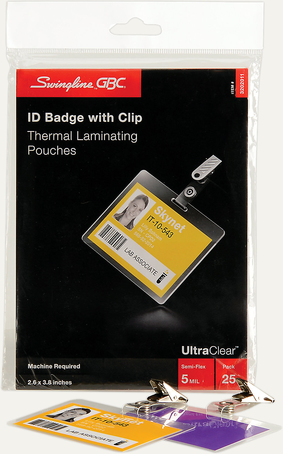 HeatSeal Pouches Badge-ID Size 5 Mil 25 pcs   3202011   GBC