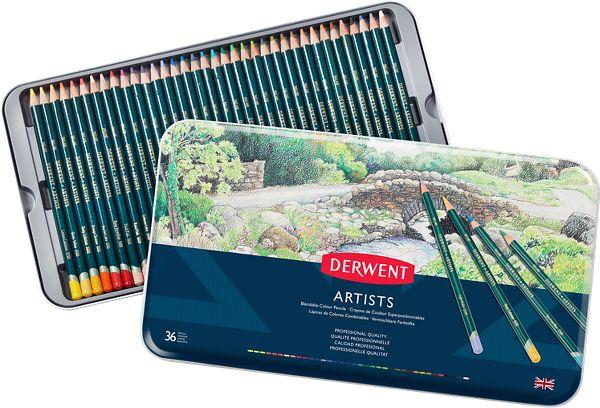 Derwent Artists 36 Blendable Colour Pencils Tin - Derwent