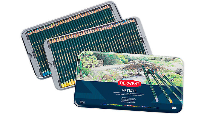 Derwent Artists 72 Blendable Colour Pencils Tin  (32097)