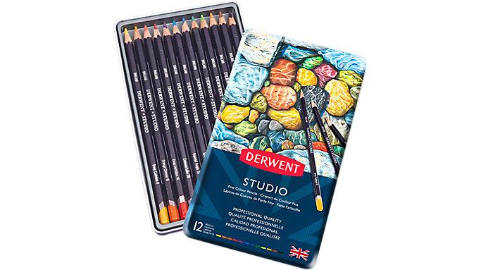 Derwent Studio 12 Fine Colour Pencils Tin  (32196)