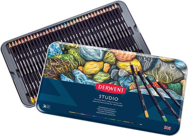 Derwent Studio 36 Fine Colour Pencils Tin - Derwent
