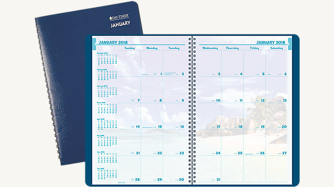 Coastlines Monthly Wirebound Planner Notebook Size    DayTimer