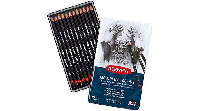 Derwent Graphic 12 Medium Graphite Pencils Tin  (34214)
