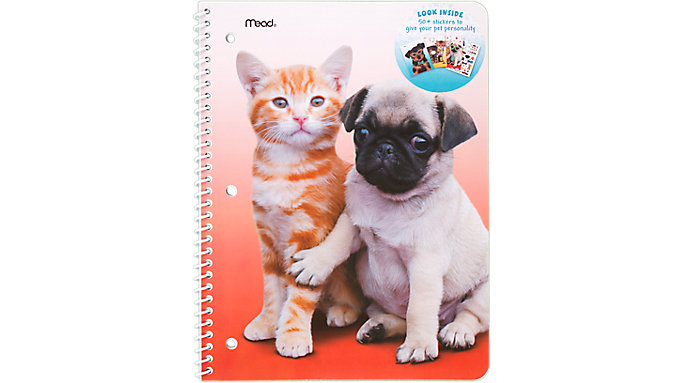 Mead Purrs and Grrrs Notebook Stickers Included 1 Subject  (07036C)