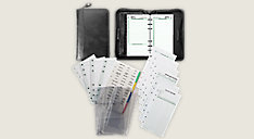 2-Page-Per-Day Reference Distressed Leather Planner Set Portable Size (Item # 4435)