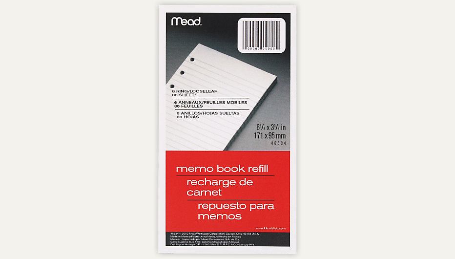 Vinyl Loose Leaf Memo Book Refill Item 46534