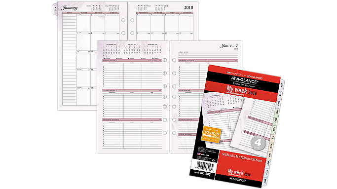 AT-A-GLANCE Day Runner Nature 3-in-1 Weekly Planner Refill Size 4  (481-385)