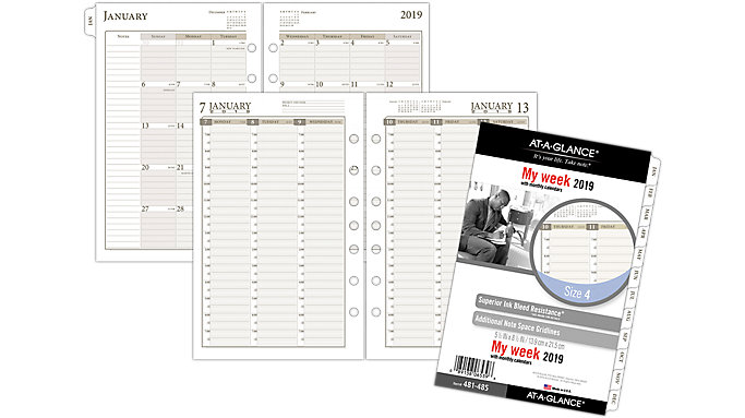 AT-A-GLANCE Day Runner Vertical Weekly Planner Refill Size 4  (481-485)