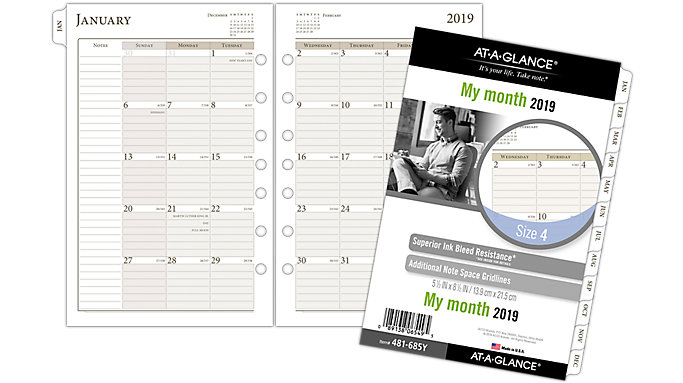 AT-A-GLANCE Day Runner Monthly Planner Refill Size 4  (481-685Y)
