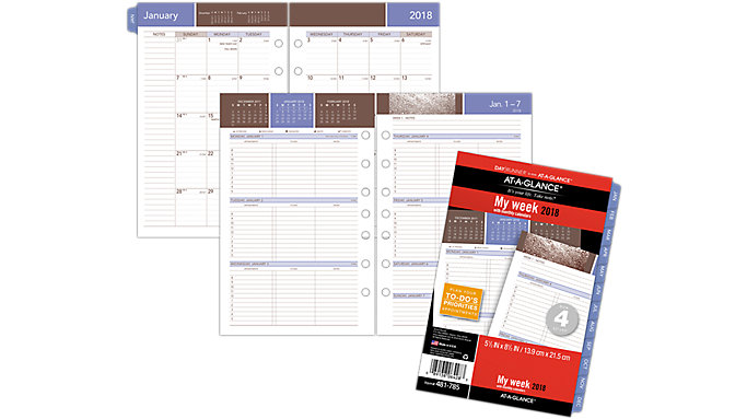 AT-A-GLANCE Day Runner Wedgewood 3-in-1 Weekly Planner Refill Size 4  (481-785)