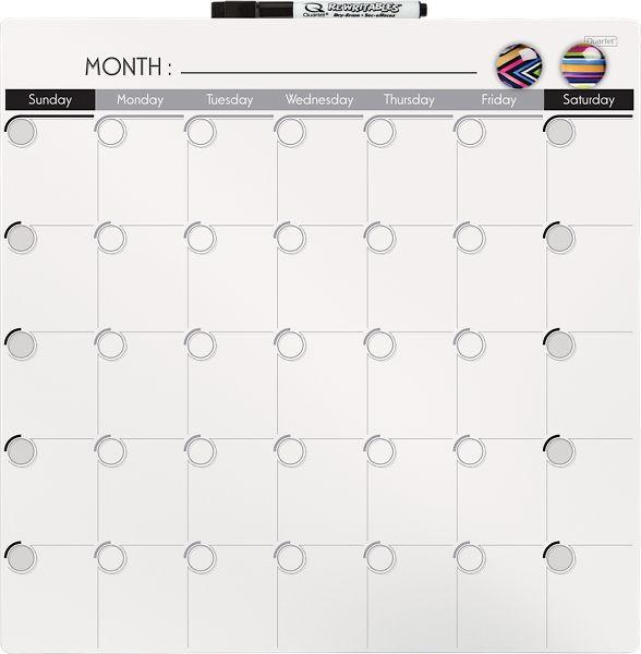 Quartet Magnetic Dry Erase Calendar Tile 14 X 14 Inches 1 Month