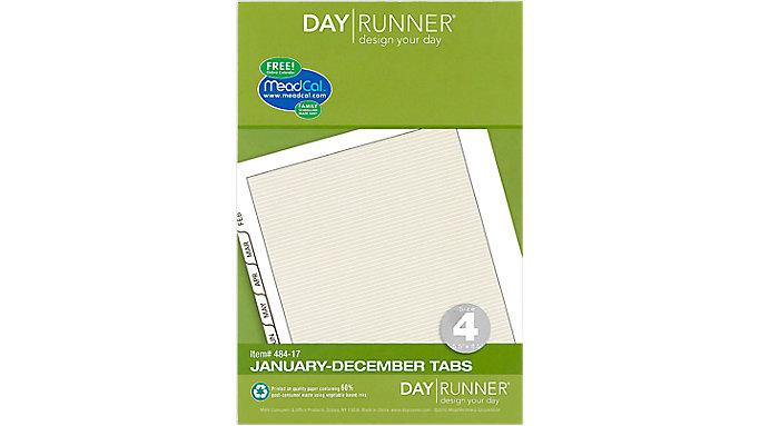 Day Runner Planner Tabs Size 4  (484-17)