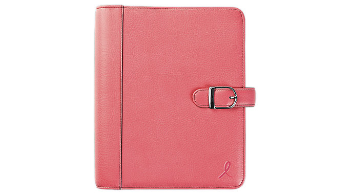 Day-Timer Pink Ribbon Snap-Tab 1 inch Leather Planner Cover Desk Size  (48422)