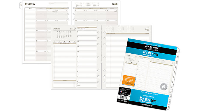 AT-A-GLANCE Day Runner 2-Pages-Per-Day Planner Refill Size 5  (491-225)