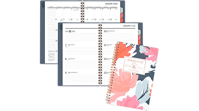AT-A-GLANCE Badge Floral Weekly-Monthly Planner  (5148B-200)