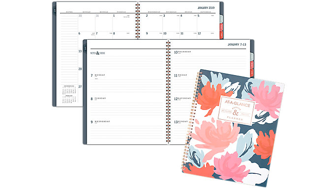 AT-A-GLANCE Badge Floral Weekly-Monthly Planner  (5148B-905)