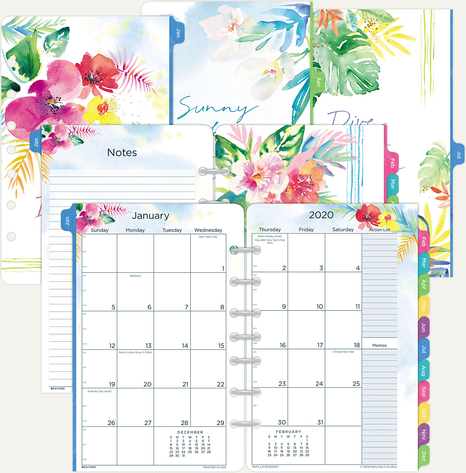 photograph relating to Planner Refills identified as Working day-Timer Kathy Davis 2-Website page-For each-Thirty day period Planner Refill Table Sizing