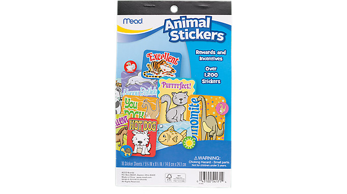 Mead Animal Stickers  (54160)