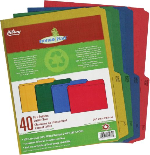 Hilroy Enviro Plus Colored Recycled File Folders - Folders