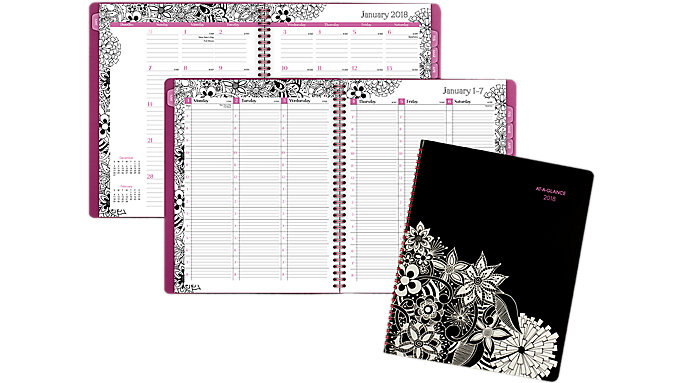 AT-A-GLANCE FloraDoodle Premium Weekly-Monthly Planner  (589-905)