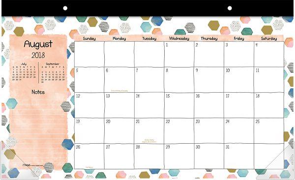Mead Shape It Up Academic Desk Pad - Desk Calendars