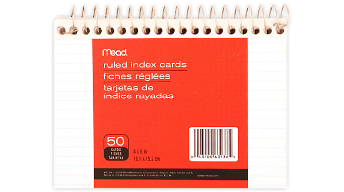 Mead Wirebound Ruled Index Cards  (63138)