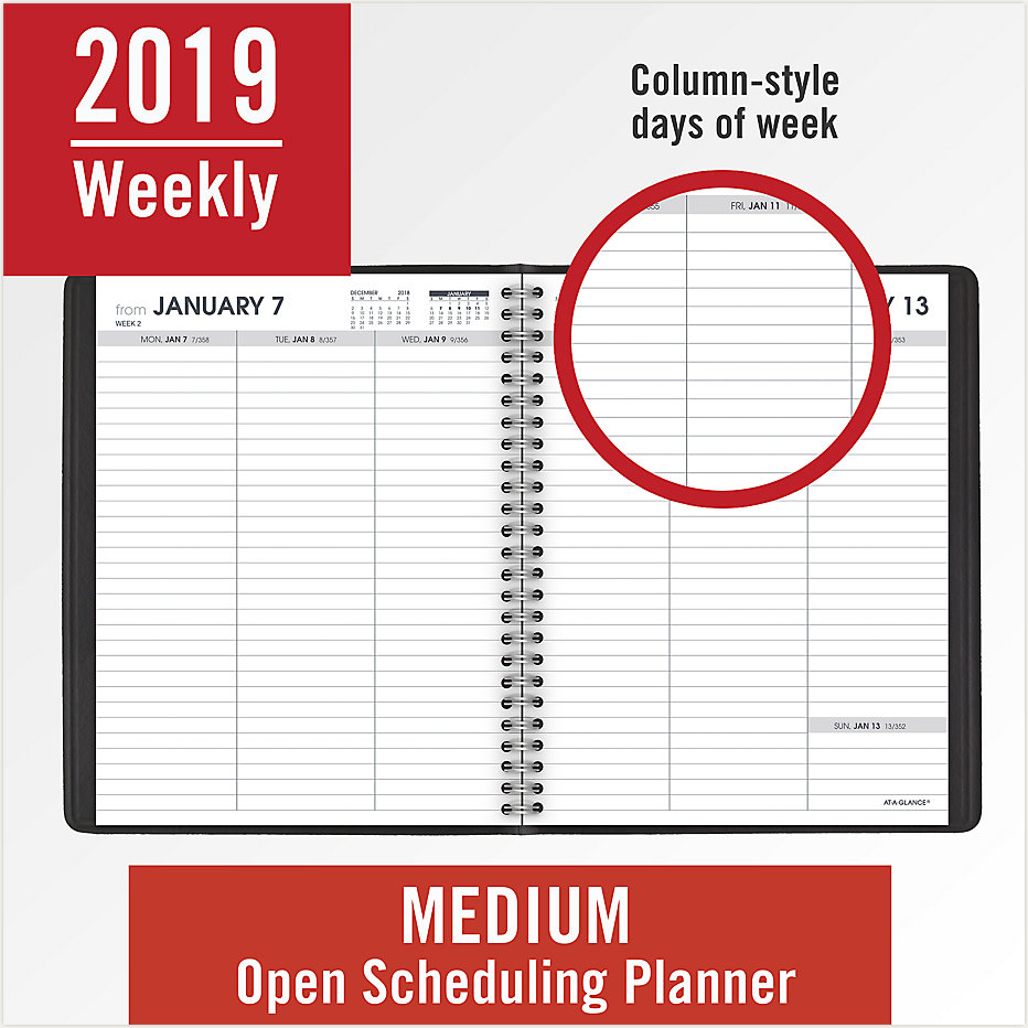 weekly open scheduling planner 70855 at a glance