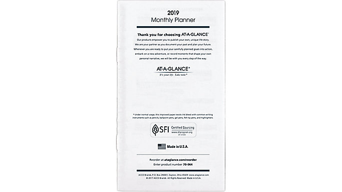 AT-A-GLANCE Monthly Planner Refill for 70-064  (70906)