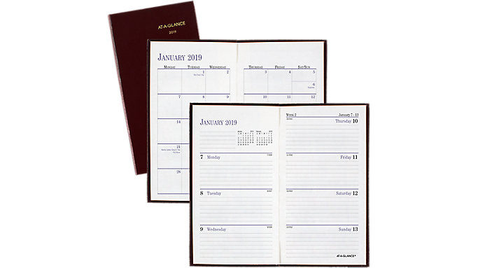 AT-A-GLANCE Fine Diary Weekly-Monthly Pocket Diary  (7202)