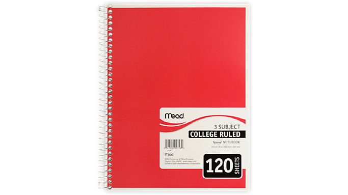 Mead Spiral Notebook 3 Subject  (05748)