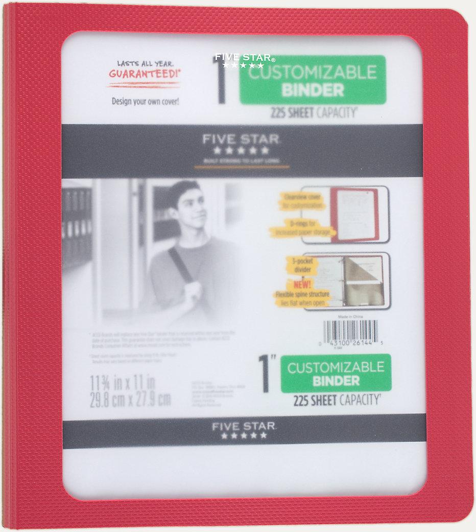 1 inch customizable binder 26144 five star