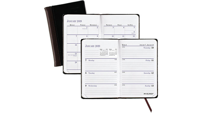 AT-A-GLANCE Fine Diary Leather Weekly-Monthly Pocket Planner  (7401)