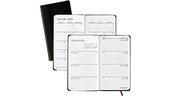AT-A-GLANCE Fine Diary Leather Weekly-Monthly Planner  (7402)