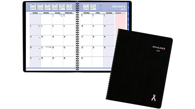 AT-A-GLANCE QuickNotes Breast Cancer Awareness Monthly Planner  (76PN06)