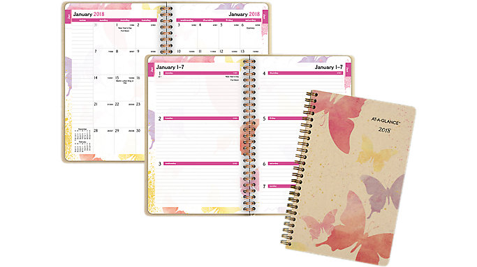AT-A-GLANCE Watercolors Recycled Weekly-Monthly Planner  (791-200G)