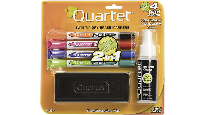 Quartet 2-in-1 Dry Erase Marker Starter Kit with Eraser and Cleaner  (79549A)