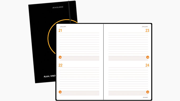 two days per page perfect bound planning notebook 806121 at a glance