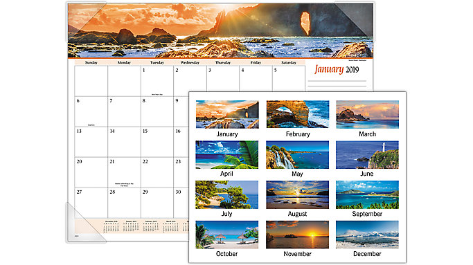 AT-A-GLANCE Seascape Panoramic Desk Pad  (89803)