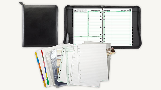 Day-Timer 2-Page-Per-Day Armorhide Leather Planner Set Folio Size (92501)