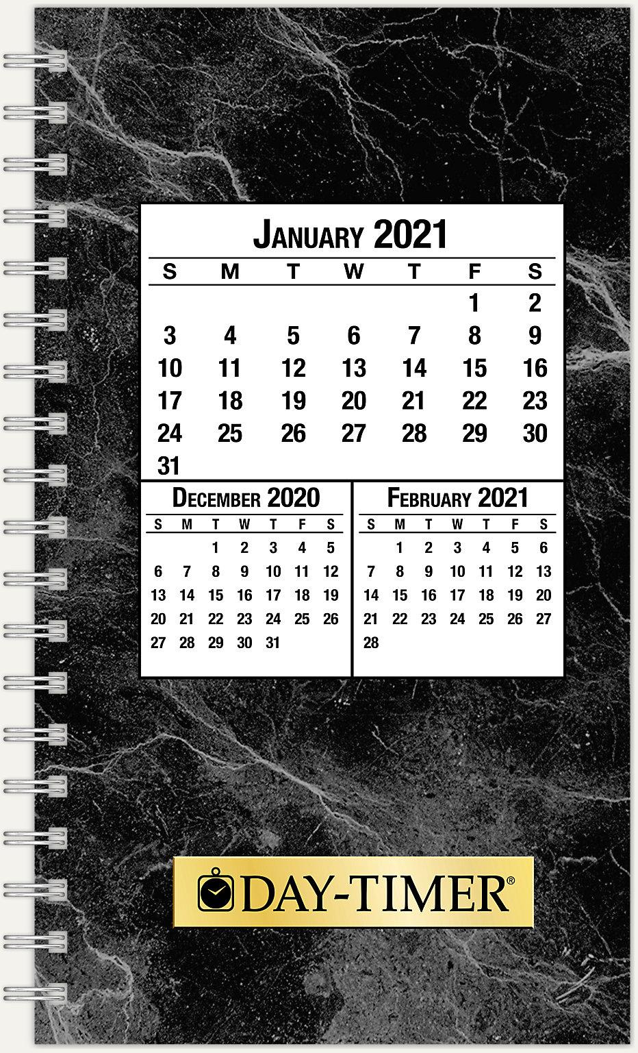 JAN Monthly AGENDA Pocket Planner Calendar Black 14 MONTHS 2PG SPREAD 2020 DEC
