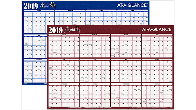 AT-A-GLANCE Horizontal Erasable Wall Calendar  (A102)